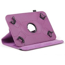 Universele 7 inch tablet hoes 360 graden draaibaar paars