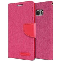 Mercury Canvas Diary Wallet voor Samsung Galaxy S7 Edge - Roze