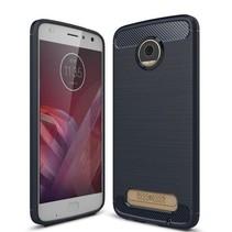 Geborstelde TPU Cover - Motorola Moto Z2 Play - Blauw