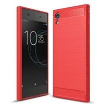 Geborstelde TPU Cover voor Sony Xperia XA1 Ultra - Rood
