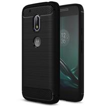 Geborstelde TPU Cover - Motorola Moto G4 Play - Zwart