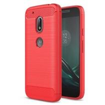 Geborstelde TPU Cover - Motorola Moto G4 Play - Rood