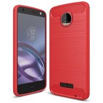 Geborstelde TPU Cover - Motorola Moto Z - Rood