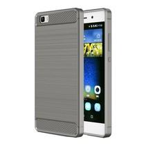 Geborstelde TPU Cover - Huawei P8 Lite - Grijs