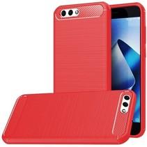 Geborstelde TPU Cover - Asus Zenfone 4 5.5 ZE554KL - Rood