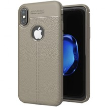 Litchi Leather TPU Case - iPhone X - Grijs