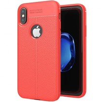 Litchi Leather TPU Case - iPhone X - Rood