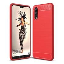Geborstelde TPU Cover - Huawei P20 - Rood