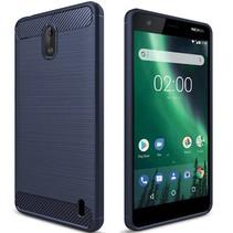 Nokia 1 - Geborstelde TPU Cover - Blauw