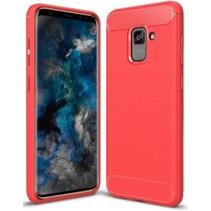 Samsung Galaxy S9 - Geborstelde TPU Cover - Rood