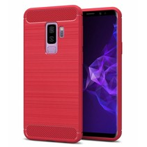 Samsung Galaxy S9 Plus - Geborstelde TPU Cover - Rood