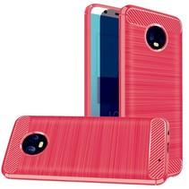 Motorola Moto G6 - Geborstelde TPU Cover - Rood