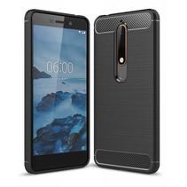 Nokia 6 2018 - Geborstelde TPU Cover - Zwart