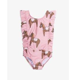 MINI RODINI Horse ruffled swimsuit