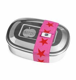 Brotzeit Lunchbox uno aus Edelstahl 100% BPA frei, Sterne rot/pink