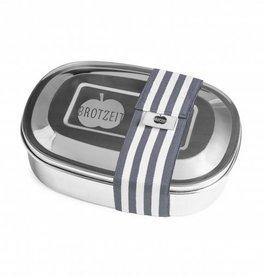 Brotzeit Lunchbox duo aus Edelstahl mit Gummiband und mit Unterteilung 100& BPA frei, Streifen grau