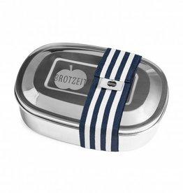 Brotzeit Lunchbox duo aus Edelstahl mit Gummiband und mit Unterteilung 100& BPA frei, Streifen blau