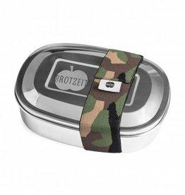 Brotzeit Lunchbox duo aus Edelstahl mit Gummiband und mit Unterteilung 100& BPA frei, Camouflage
