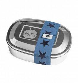Brotzeit Lunchbox duo aus Edelstahl mit Gummiband und mit Unterteilung 100& BPA frei, Sterne Jeans