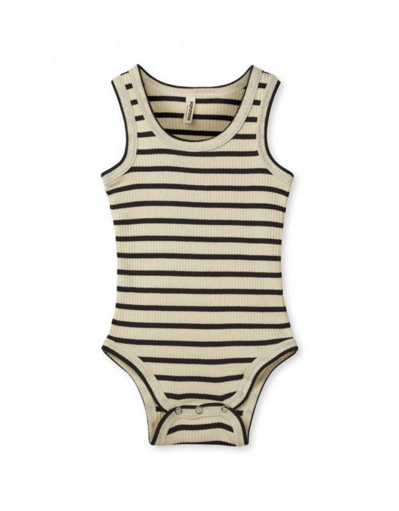 Popupshop Baby Rib Body Tank Off White With Navy