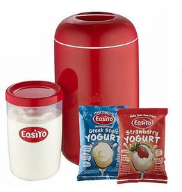 EasiYo EASIYO 1KG YOGURT MAKER STARTER PACK RED 1KG MAKER & 1KG JAR & UNSWEETENED GREEK STYLE & STRAWBERRY YOGURT