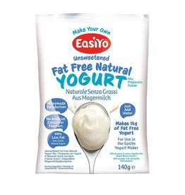 EasiYo EASIYO UNSWEETENED FAT FREE NATURAL YOGURT 140G MAKES 1KG