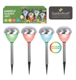 Smart Garden SMART GARDEN GARDENKRAFT 4 PACK STAINLESS STEEL COLOUR CHANGE SOLAR LIGHT