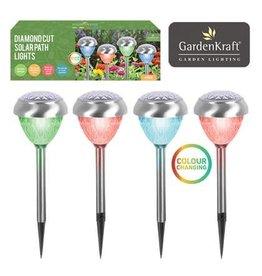 Smart Garden SMART GARDEN GARDENKRAFT 4 PACK STAINLESS STEEL COLOUR CHANGE SOLAR LIGHT