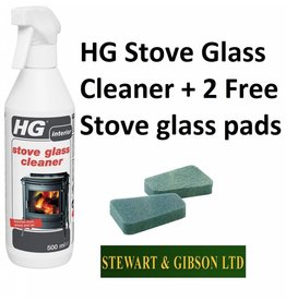 HG HG Hagesan Stove Glass Cleaner Spray 500ml PLUS 2 x FREE Stove Glass Pads