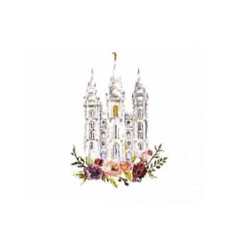 Salt Lake City LDS Temple Watercolor Greeting Card