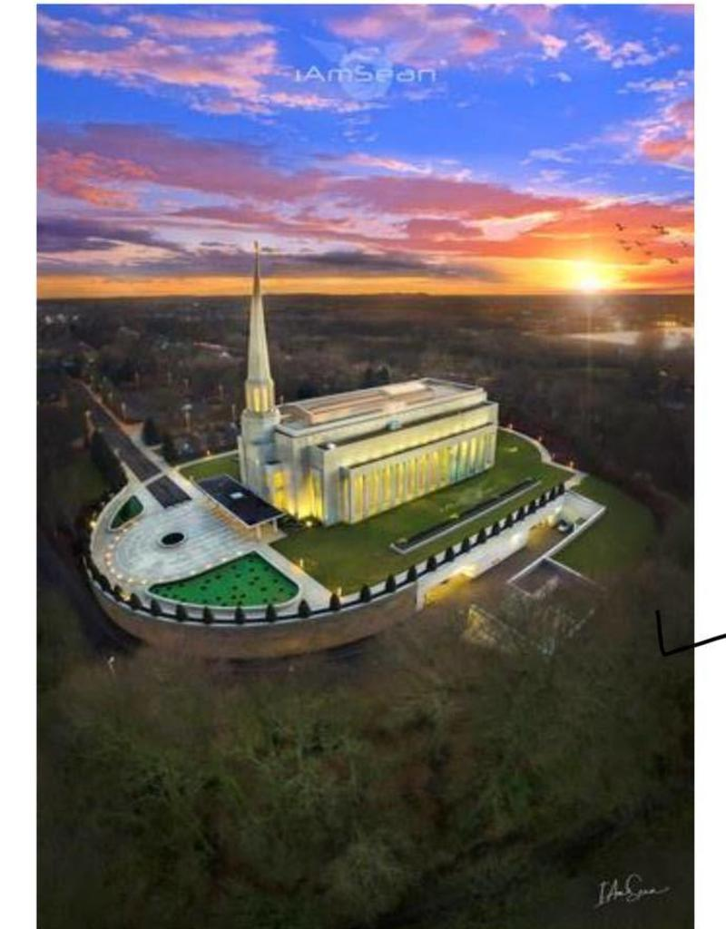 A3 Canvas Print - Preston England Temple Arial Photo