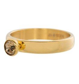 iXXXi Jewelry IXXXI Jewelry Vulring Zirconia 1 Stone Topaz Goudkleurig 4 mm