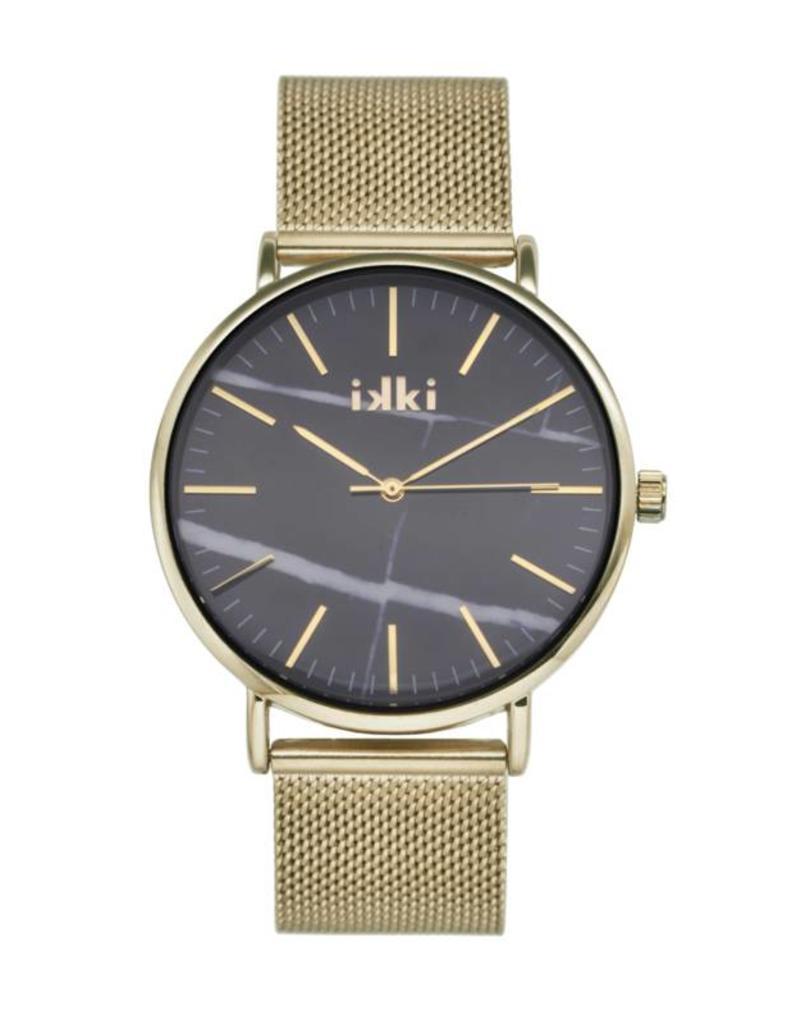iKKi Horloges iKKi Amelle AM03 Goud/Zwart Marmer Horloge