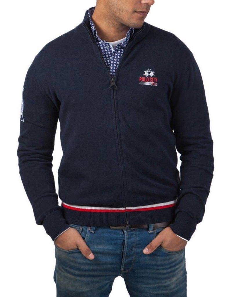 La Martina ® Sweatshirt Strickjacke Polo City, Dunkelblau