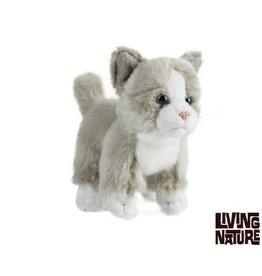 Living Nature Knuffel Kitten wit met grijs