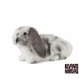 Living Nature Knuffel Konijn Grijs met Wit
