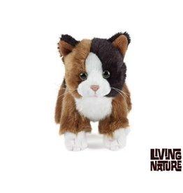 Living Nature Knuffel Kitten zwart, bruin, wit