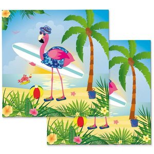 Tropische servetten flamingo on the beach