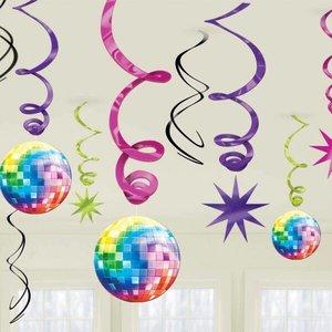 Hangdecoratie discoballen gekleurd