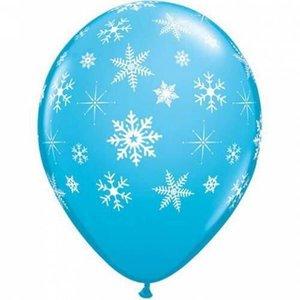 Ballonnen met sneeuwvlokken blauw 6 stuks