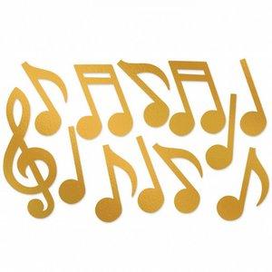 Decoratie Muzieknoten goudkleurig