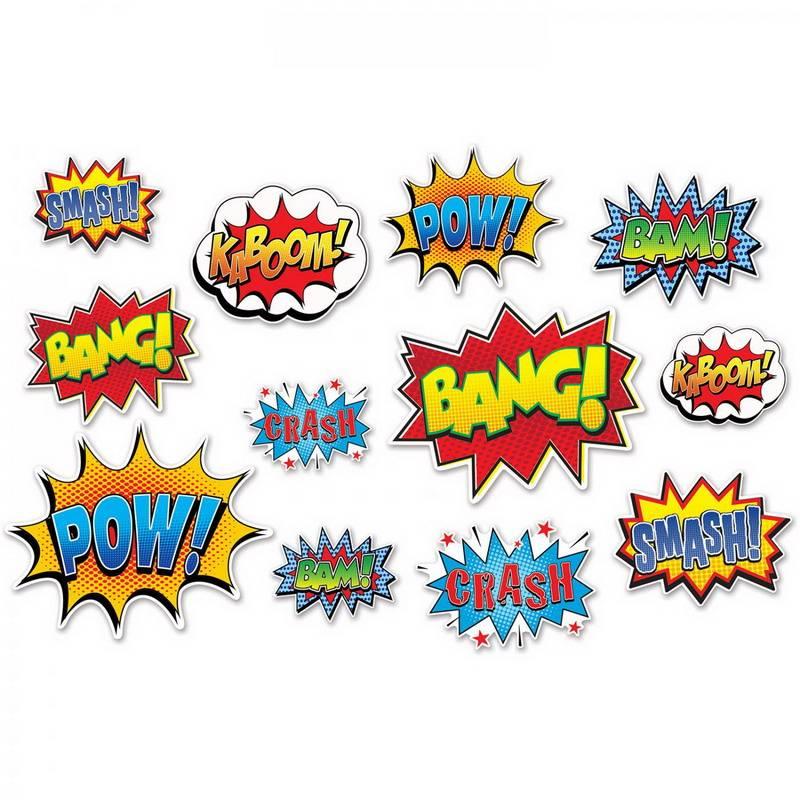 Decoratie Superhelden Action Signs 12 stuks