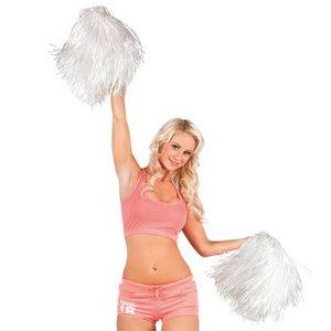 Cheerleader pompon luxe wit per stuk