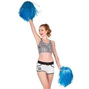 Cheerleader pompon luxe blauw per stuk
