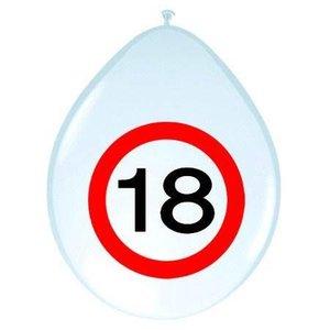 Ballonnen 18 jaar verkeersbord