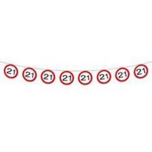 Vlaggenlijn verkeersbord 21 jaar