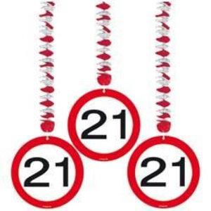 Hangdecoratie 21 verkeersbord