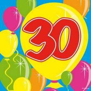 Servetten 30 jaar ballonnen