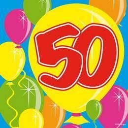 Servetten 50 jaar ballonnen