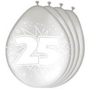Ballonnen 25 jaar zilver 8 stuks